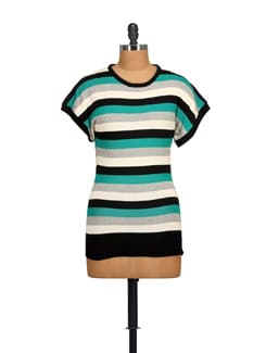 Sky Blue & White Striped Top - NOI