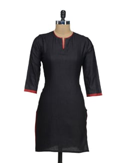 Classic Black & Red Silk Kurta - Fami India