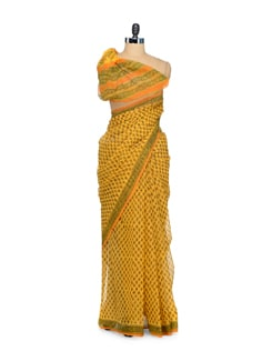 Dull Orange Printed Kota Cotton Saree - Nanni Creations