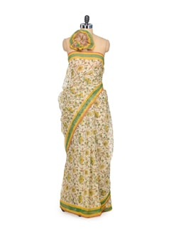 Off-White Floral Kota Cotton Saree - Nanni Creations