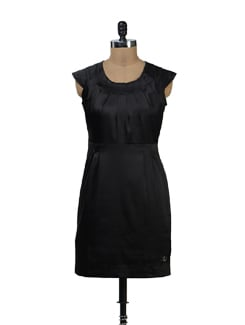 Black Satin Cap Sleeve Dress - Yell