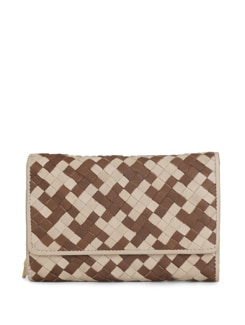 Beige And Brown Wallet With A Textured Weave - Eske