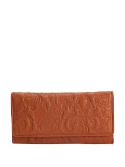 Textured  Floral Wallet In Orange - Eske