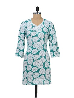 White & Green Leaf Print Kurta - STRI