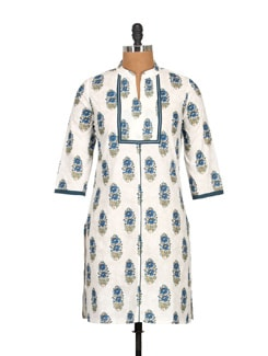 Pure White Cotton And Block Print Knee Length Kurti - Tamirha