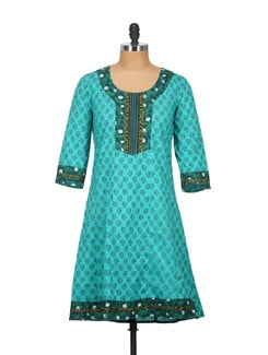 Sky Blue And Green Patchwork Kurti In Pure Cotton - Tamirha