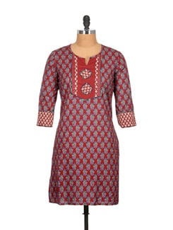 Pure Cotton Maroon Kurti With Patchwork Yoke In Blue - Tamirha