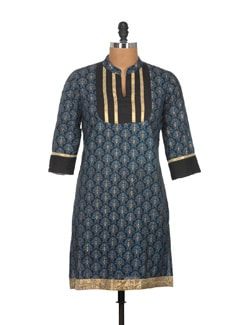 Navy Blued Lace Work Cotton Kurti - Tamirha