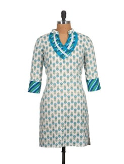 Blue And White High Collar Block Print Cotton Kurti - Tamirha