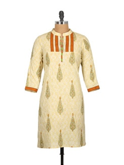 Vanilla White And Orange Pure Cotton Printed Kurti - Tamirha