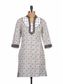 Black And White Printed Pure Cotton Kurti - Tamirha