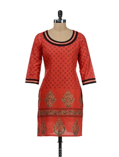 Orange & Black Printed Kurta - RIYA