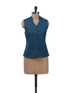 Quilted Blue Sleeveless Jacket - Vedanta