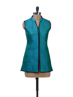 Teal Blue Quilted Jacket - Vedanta