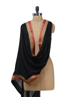 Ethnic Black Woolen Stole - Vedanta