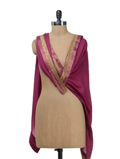 Purple Woolen Stole With Brocade Border - Vedanta
