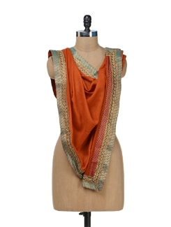 Orange Woolen Stole With Contrast Border - Vedanta