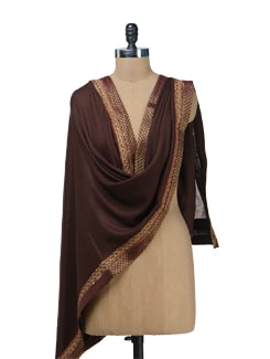 Brown & Gold Ethnic Woolen Stole - Vedanta