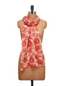Floral Wool Gauze Scarf In White And Orange
