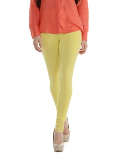 Lace Trimmed Leggings- Yellow - SORRISO
