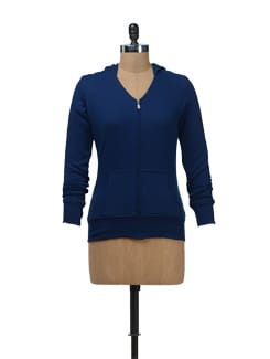 Blue Hoodie Zip-Up Sweatshirt - Femella