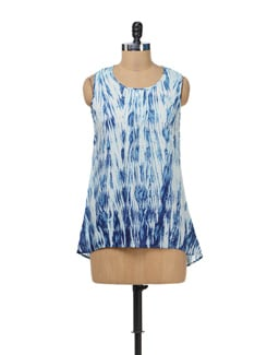 White & Blue Printed Top - AND