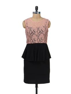 Pink & Black Lace Peplum - AND