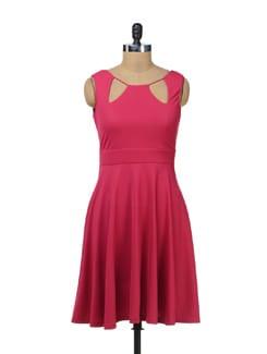 Elegant Pink Flared Dress - AND