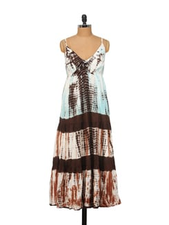 Strappy Maxi Dress In Sky Blue And Brown - House Of Tantrums