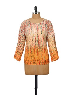 Printed Top In Orange - House Of Tantrums