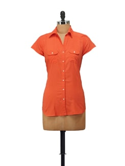 Short Sleeved Tangerine Shirt - House Of Tantrums