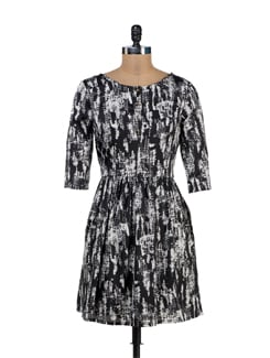 Angela Printed 3/4th Sleeve Dress With Lining - Thegudlook
