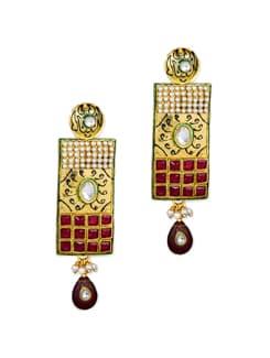 Maroon & Green Ethnic Earrings - Vendee Fashion 37343
