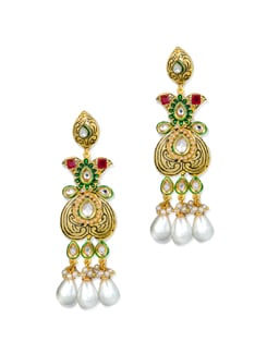 Gold & Green Ethnic Earrings - Vendee Fashion