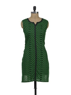 Green And Black Paisley Print Kurti - Palette
