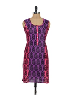 Purple And Neon Pink Kurta With Black Motifs - Palette