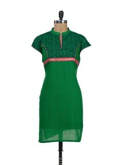 Trendy Green Printed Kurti - Palette