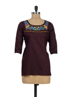 Brown Embroidered Top - Palette