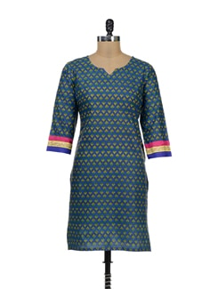 Printed Blue Kurta With Gota Lace Sleeves - Palette