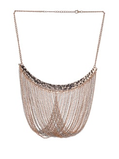 Gold & Silver Twisted Drapes Necklace - Blissdrizzle