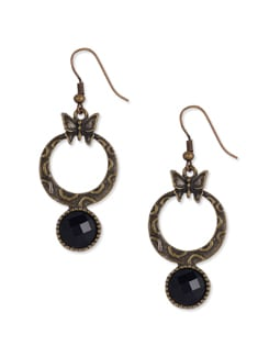 Antique Gold Earrings With A Black Stone - Blend Fashion Accessories