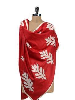 Classic Red & White Shawl - Vayana