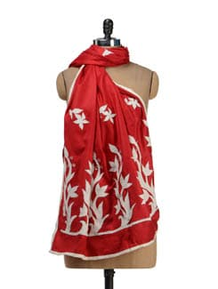 Fine Red & White Shawl - Vayana