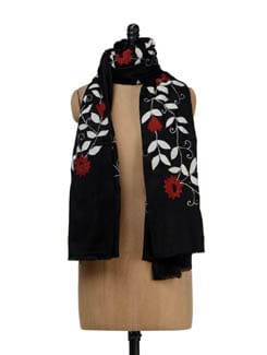 Classic Black, White & Red Woollen Shawl - Vayana