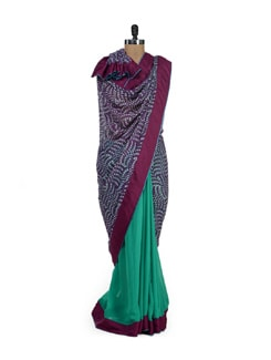Purple And Green Half Print Saree - URBAN PARI