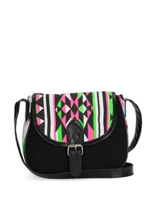 Black Printed Sling Bag