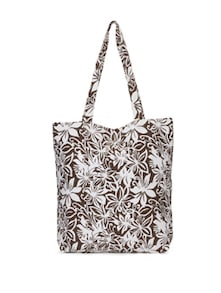 Brown And White Floral Print Handbag - SUNNY ACCESSORY
