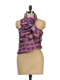 Purple Printed Chanderi Dupatta - Sakrip