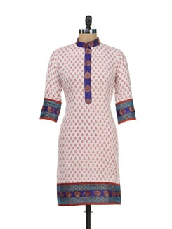 Printed White And Red Kurti With Hues Of Royal Blue - Paridhaan