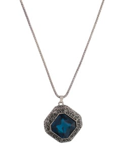 Blue Stone Oxidized Silver Necklace - YOUSHINE